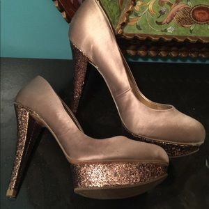Champagne gold Satin Pumps